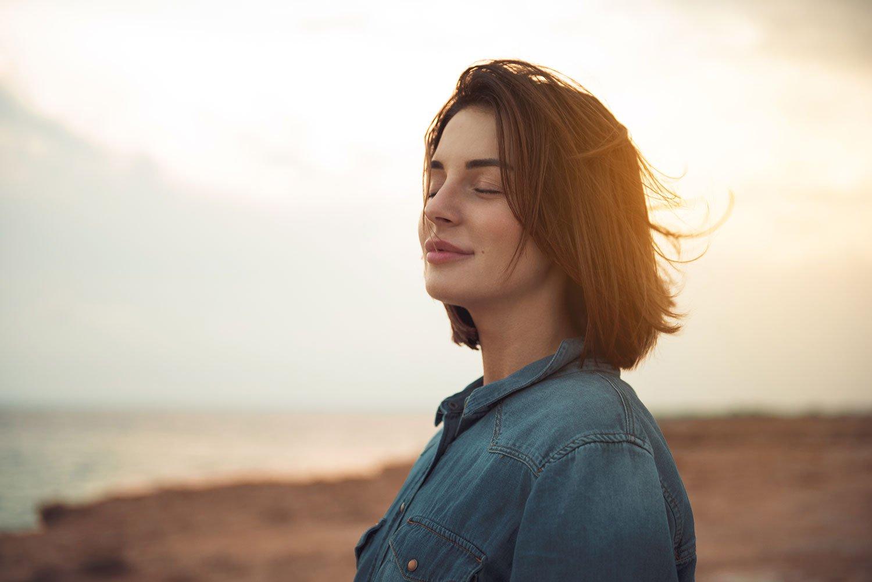 Calm woman on beach